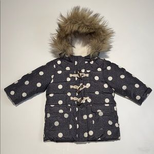 Baby Gap Winter Hooded Coat with Fur sz 12-18 mo